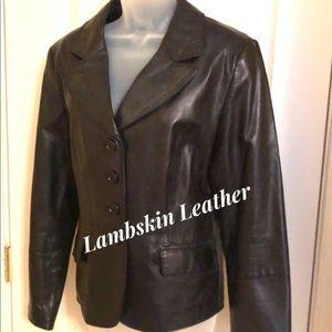Black Leather Jacket Portrait Lambskin NWOT